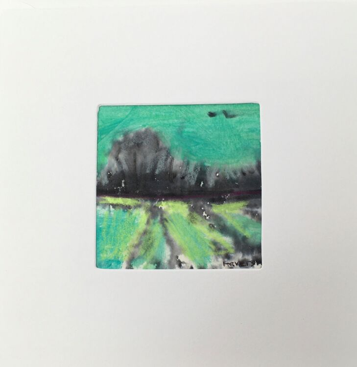 03GRN £6.00 Tiny Original Painting enclosed in 5x5inches greeting card.