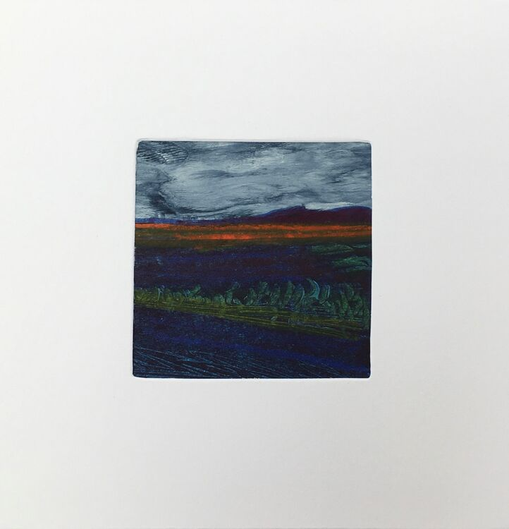 03BL £6.00 Tiny Original Painting enclosed in 5x5inches  greeting card.