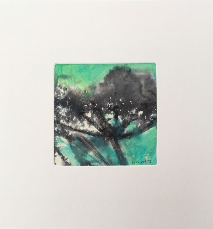 05GRN. £6.00 Tiny Original Painting enclosed in 5x5inches greeting card.