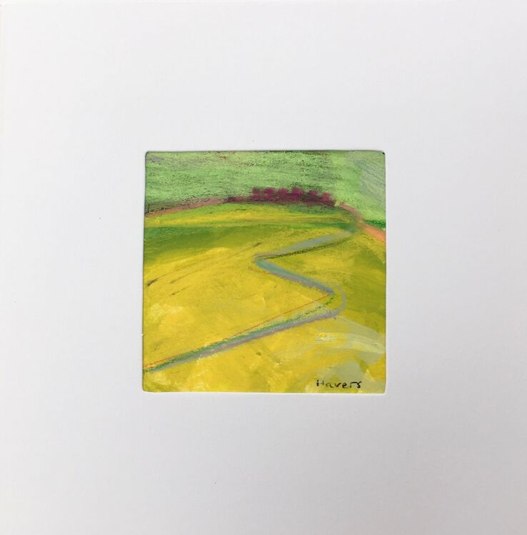03YL £6.00 Tiny Original Painting enclosed in 5x5inches greeting card.