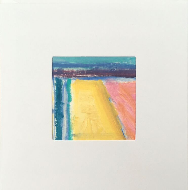 05YL £6.00 Tiny Original Painting enclosed in 5x5inches greeting card.