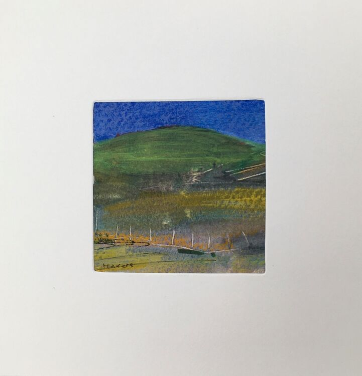 02GRN £6.00 Tiny Original Painting enclosed in 5x5inches greeting card