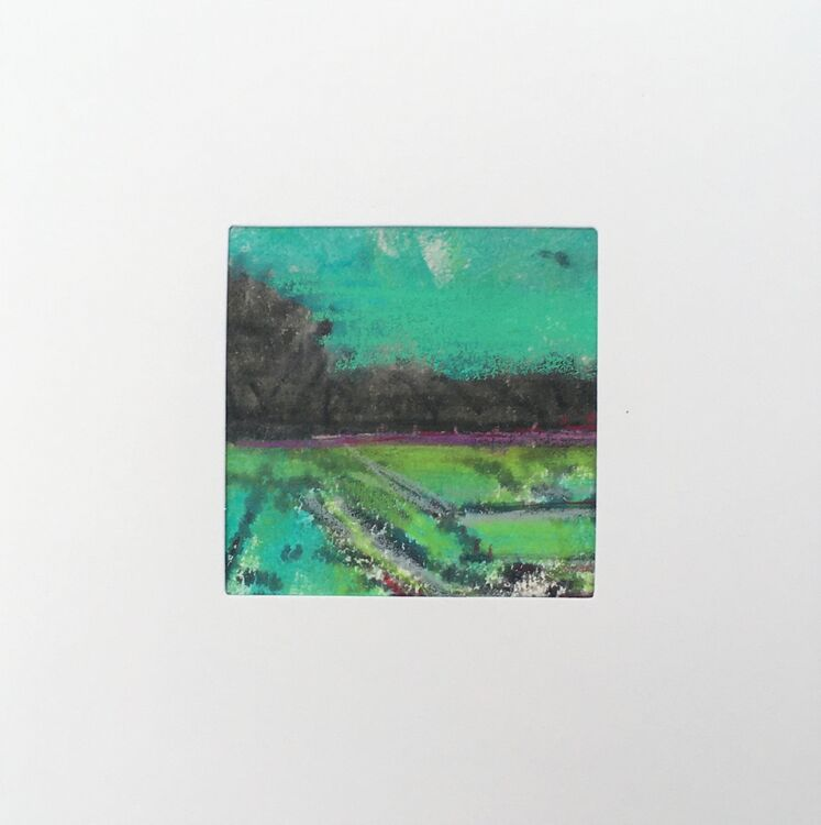 08GRN £6.00 Tiny Original Painting enclosed in 5x5inches greeting card