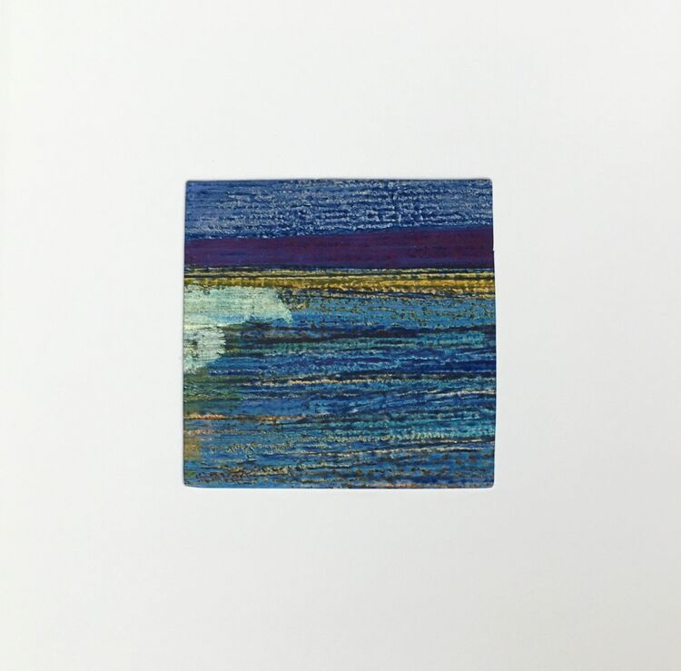 04BL £6.00 Tiny Original Painting enclosed in 5x5inches greeting card.