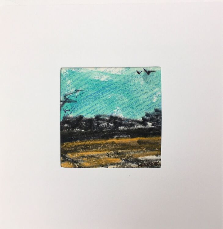 06GRN £6.00 Tiny Original Painting enclosed in 5x5inches greeting card.