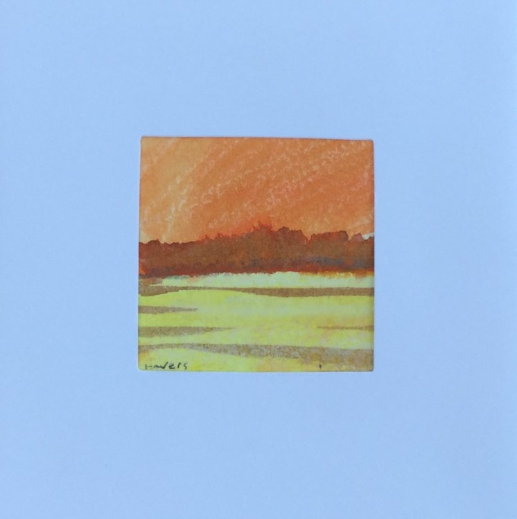 10 YL £6.00 Tiny Original Painting enclosed in 5x5inches greeting card.