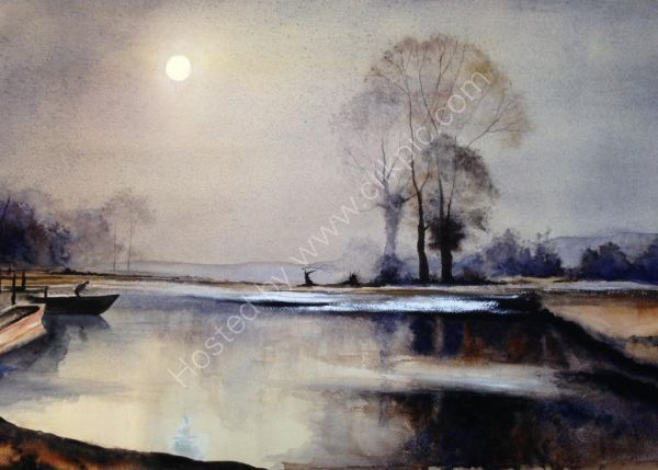 Interpretation-Dusk on the Lake