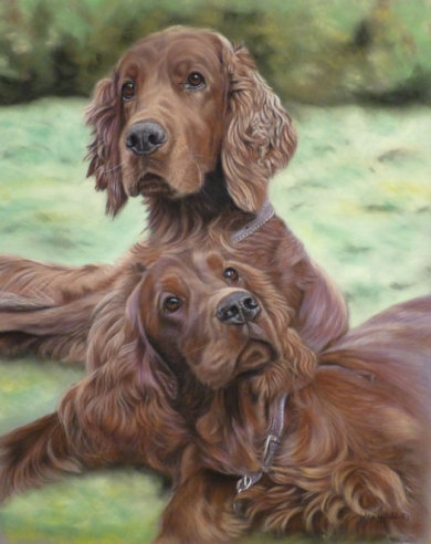 Barkley and Henry, the photos show Bev and Gary's Granddaughter with their portrait, at Crufts .. so cute