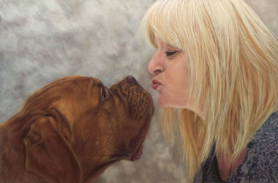 This is my first human portrait .. it is the lovely Roxy with her human companion Lesley