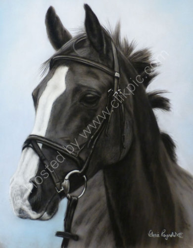Rubea in a black and white painting