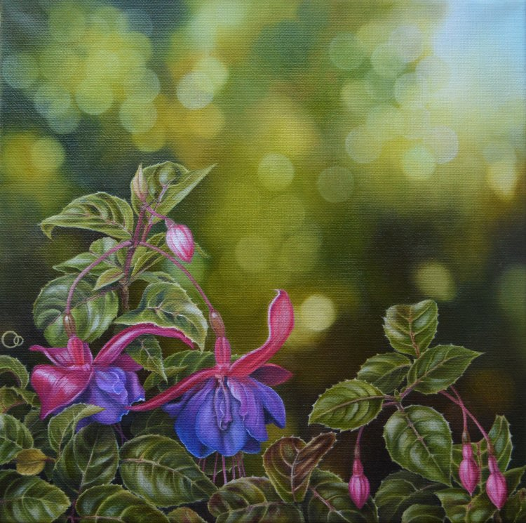 A Prelude to Autumn Flower Painting of Fuchsia