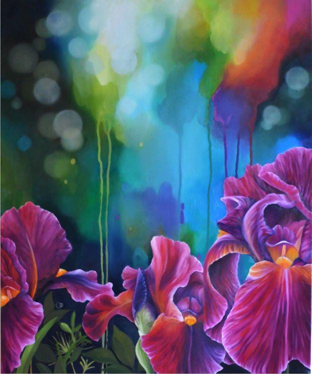 Fire Irises Flower Oil Painting