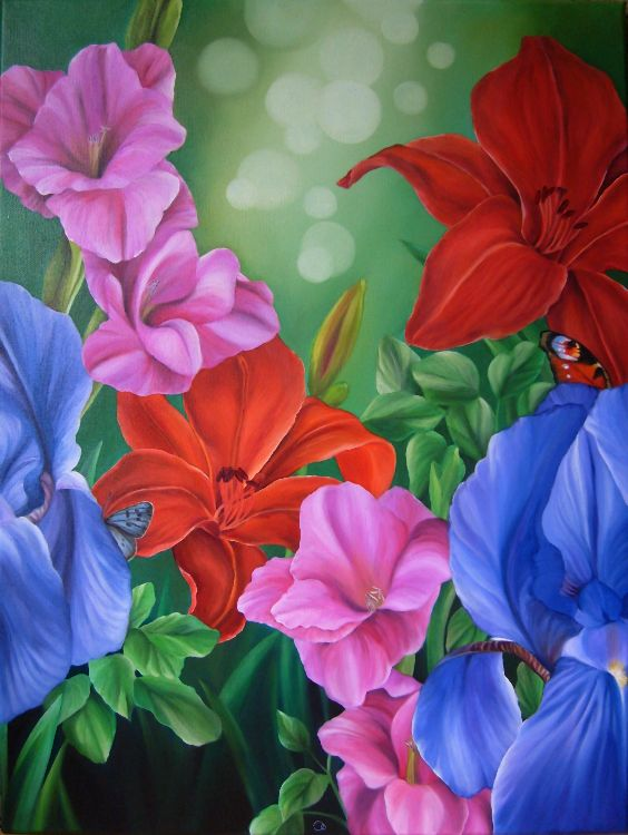 Harmony Garden Flowers Oil Painting