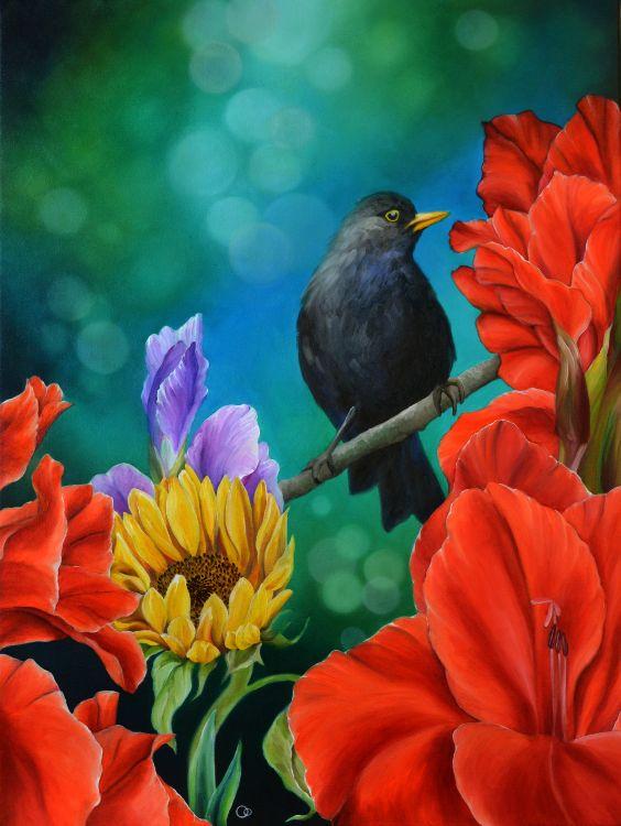 Harmony 2 Oil Painting Bird Flowers