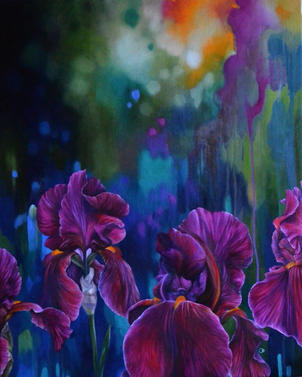 Heatwave Red Iris Flower Oil Painting