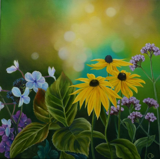 Late Summer Blooms Flower Oil Painting