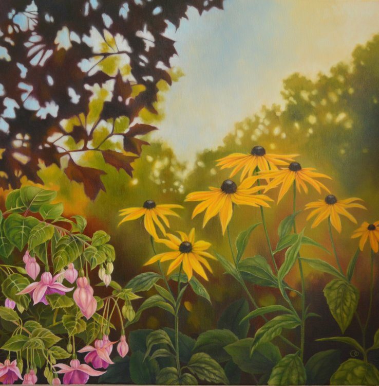 Late Summer Gold Floral Oil Painting Flower Painting