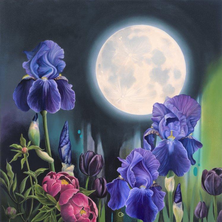 Moonlight Sonata Iris Flower Oil Painting Moon