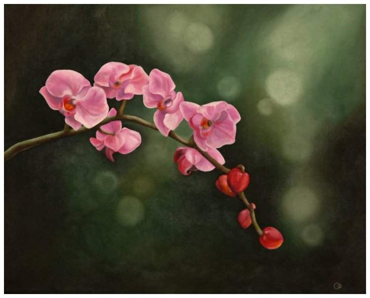 Pink Orchids Oil Painting