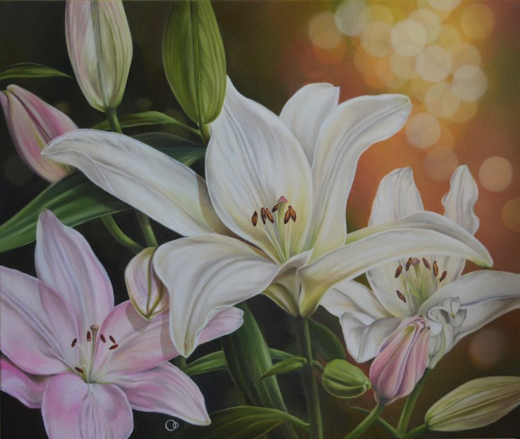 Serenity Oil Painting Pink and White Lilies