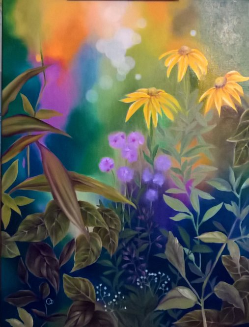 Late Summer Garden Flower Oil Painting