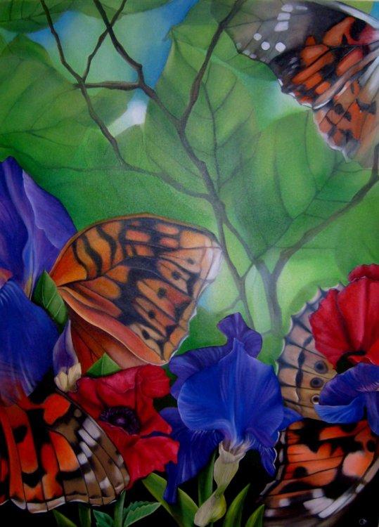 Praeter Naturam Flora Fauna Oil Painting Irises Popies