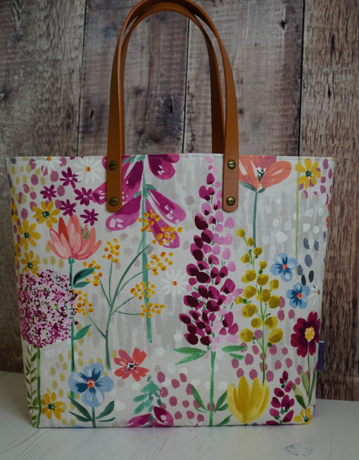 Tote Bag - Floral Multi with Brown Faux Leather Handles
