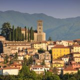 View of the splendid town of Barga,encircled by mountains
