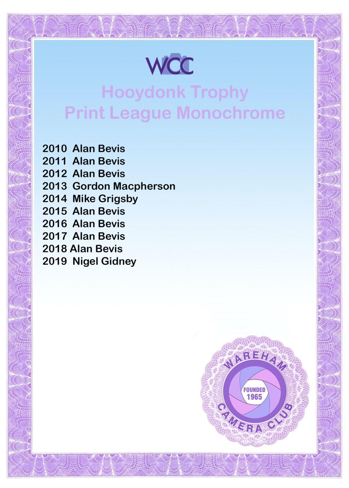 Hooydonk Trophy Certificate