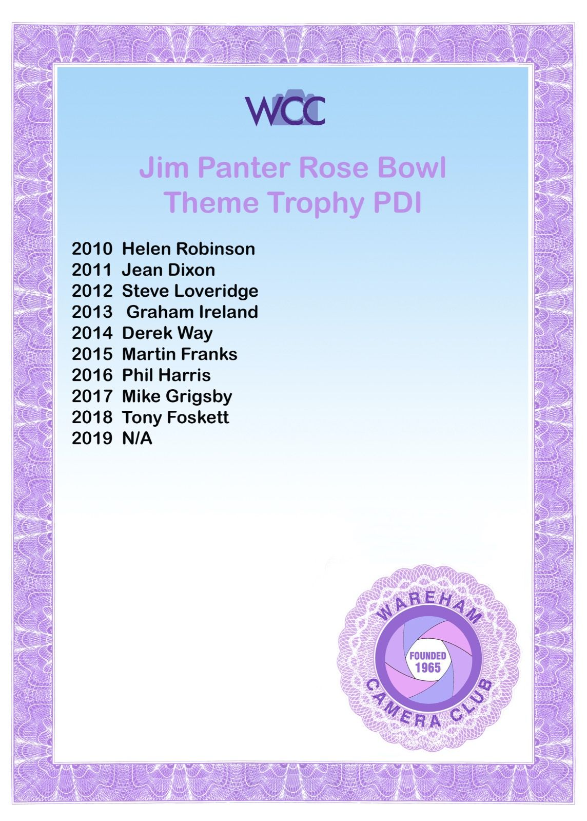 Jim Panter Rose Bowl PDI