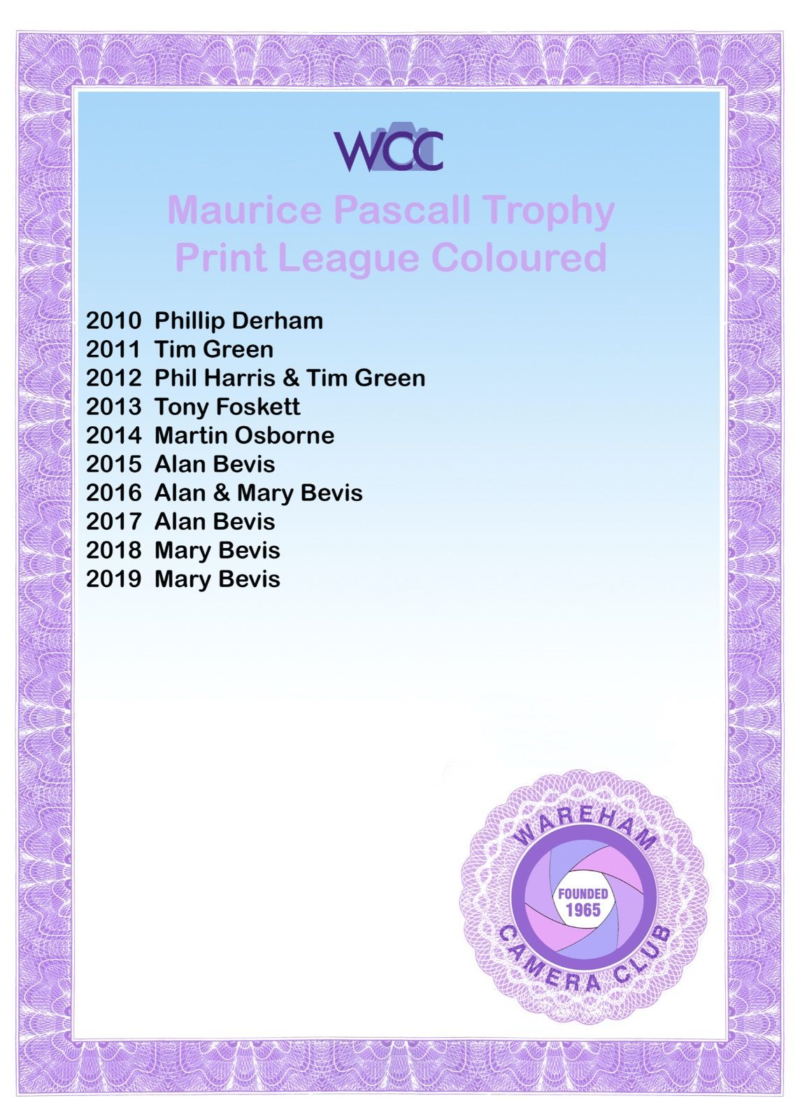 Maurice Pascall Trophy