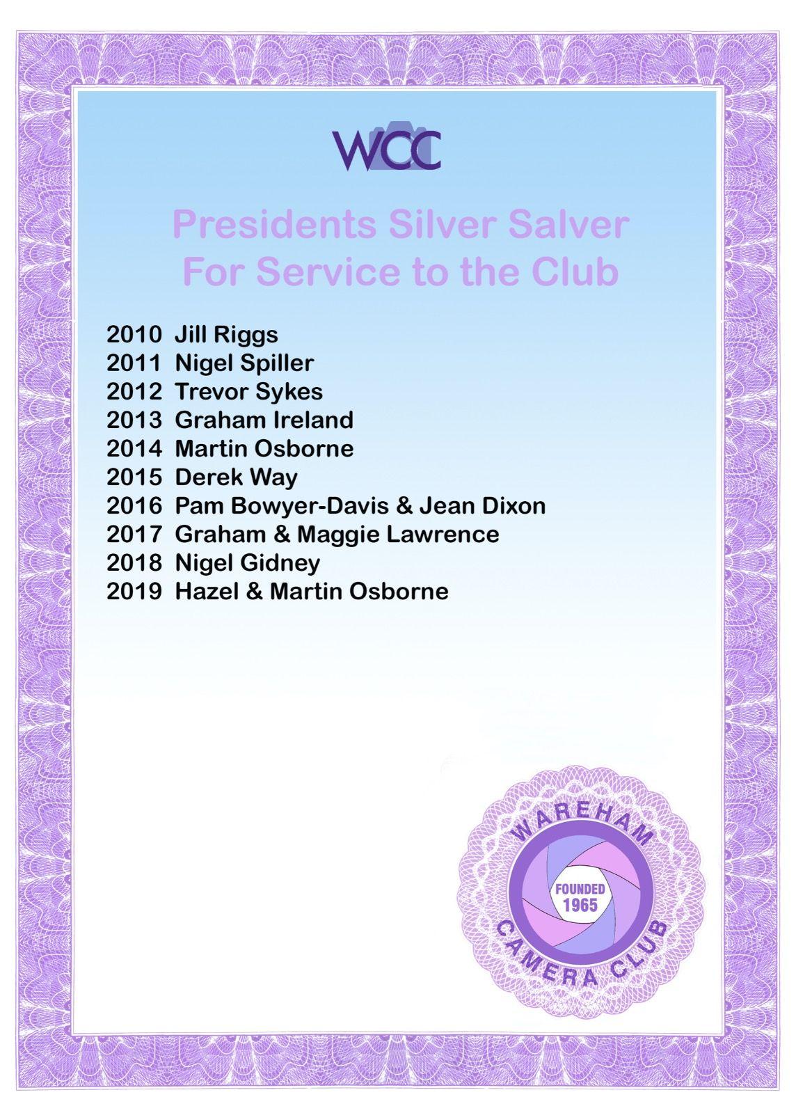 Presidents Silver Salver
