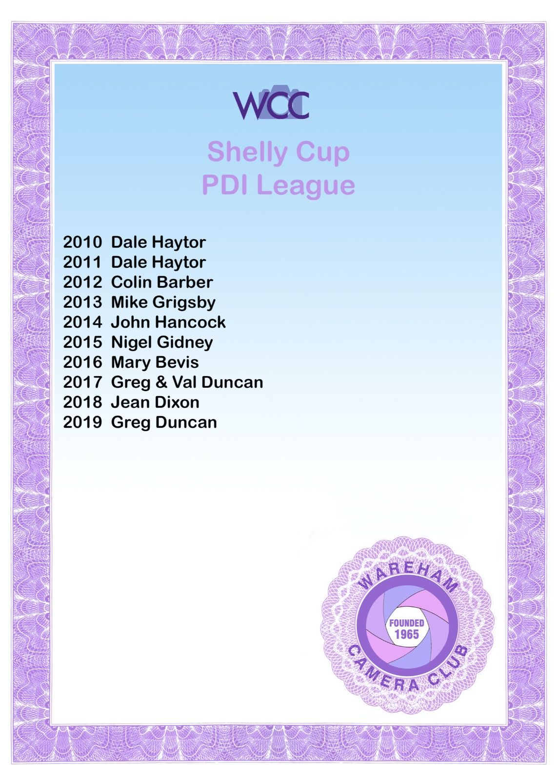 Shelley Cup Cert