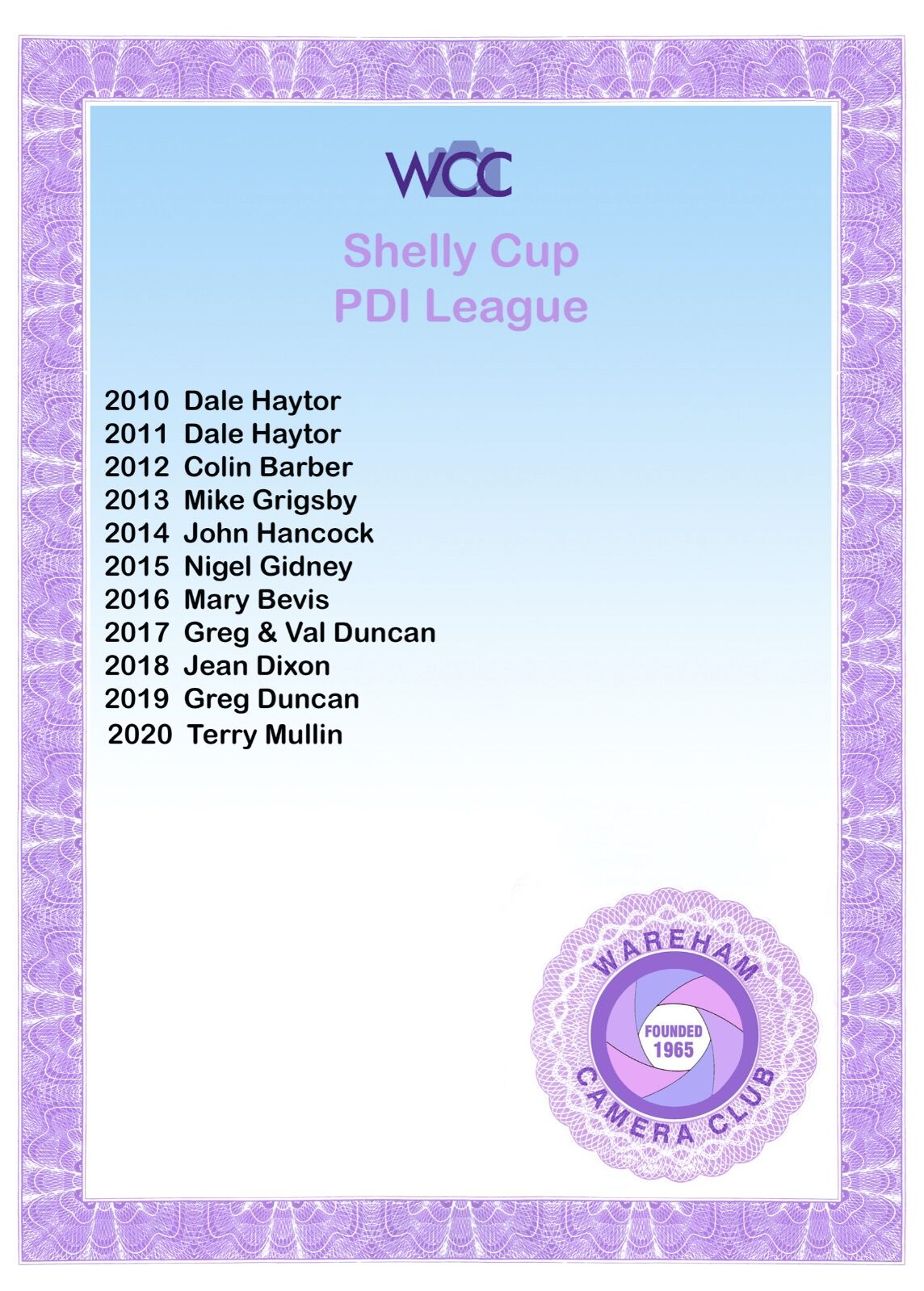 Shelley Cup Cert