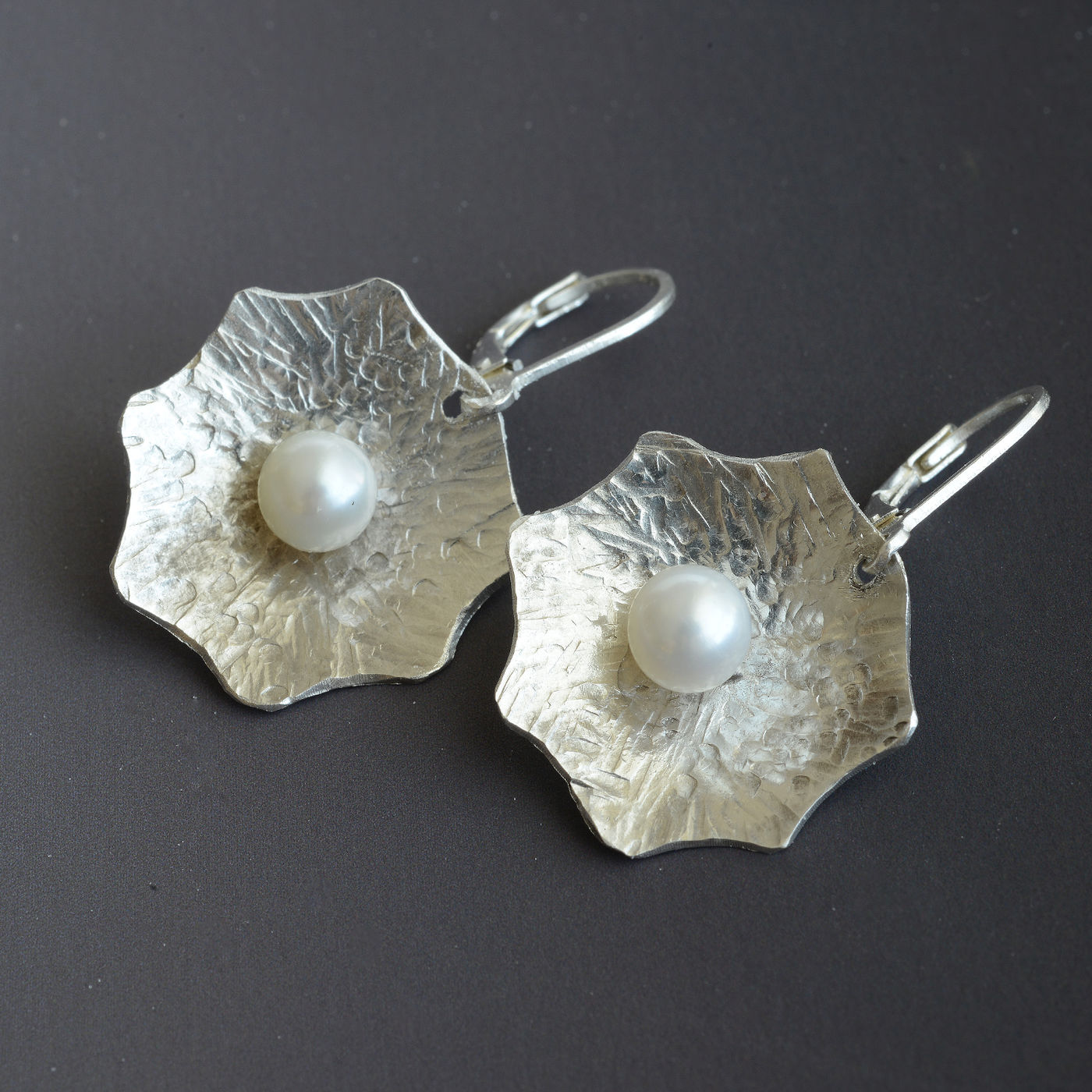 E18013- Forged sterling silver petals with pearls