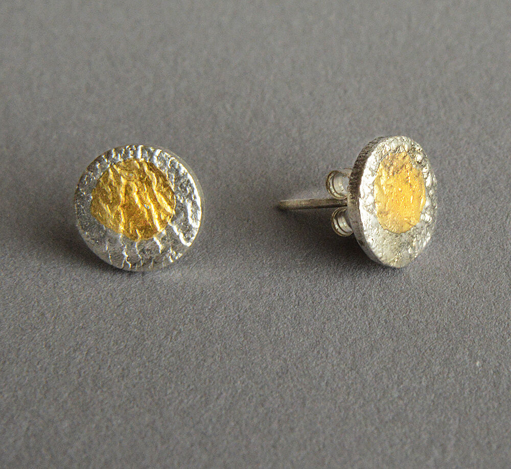 E20042 - Silver and gold stud back earrings