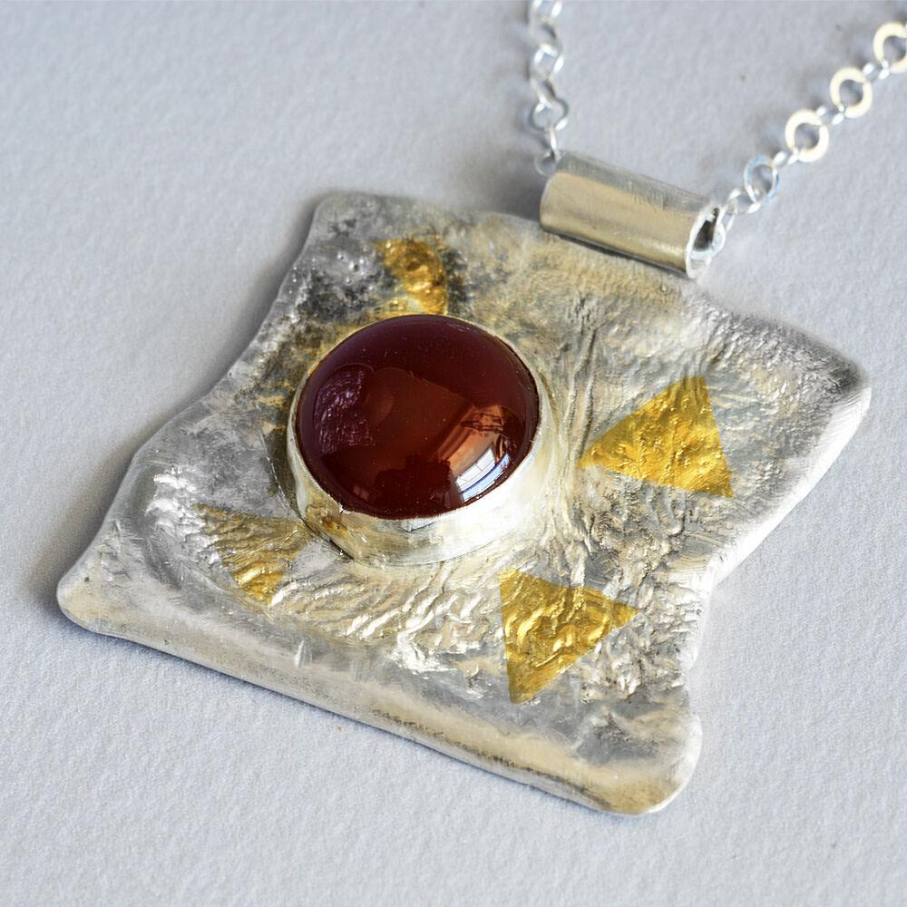 N18009 - Statement Pendant - silver, gold, carnelian