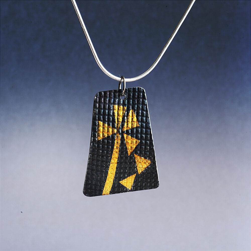 N18016 - 24kt gold pendant on textured, oxidized sterling silver