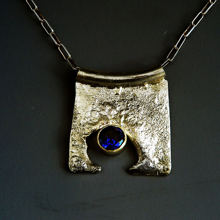 N18001 - Reticulated sterling pendant with blue lab-grow sapphire