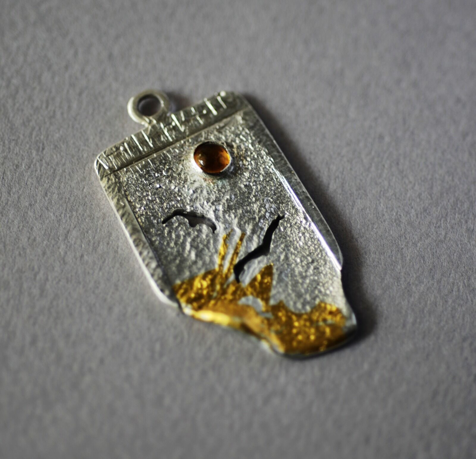 N18038 - Pendant - Reticulated silver with gold, birds & citrine stone