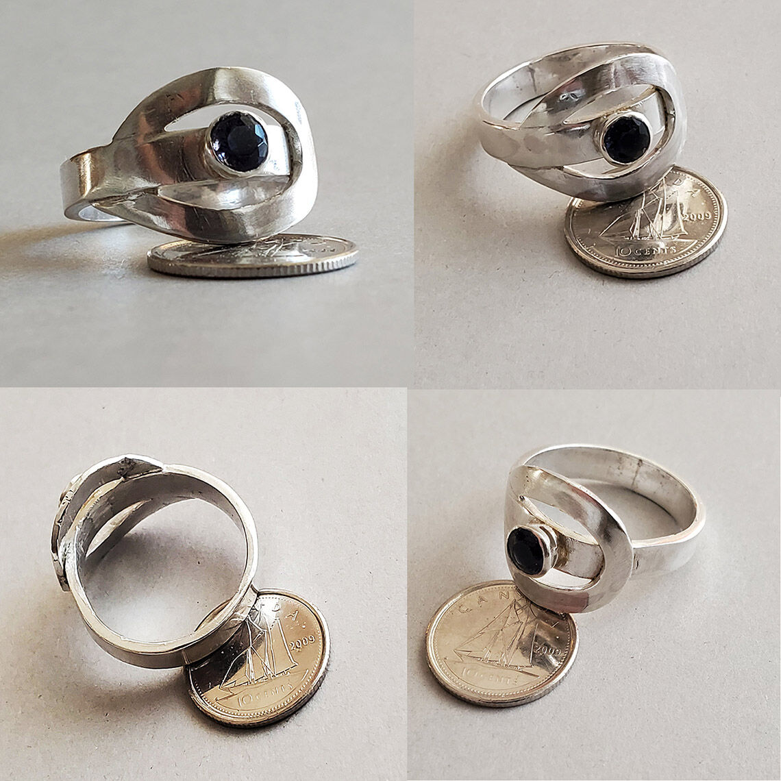 R2101 - Various views - Commission ring: sterling silver with iolite stone