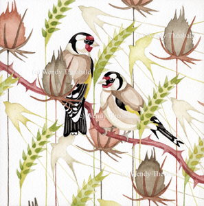 Feasting Goldfinches