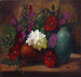 Turquoise Vase and Flowers - Jackie King