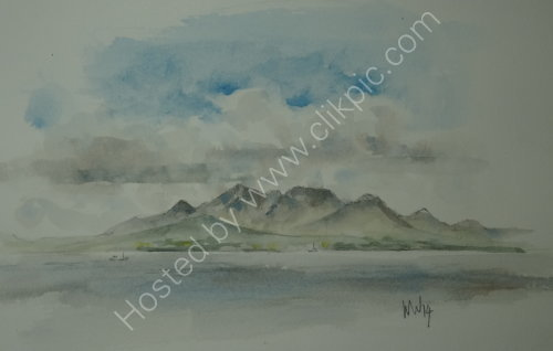 Island of Arran from the Ayshire coast 2014