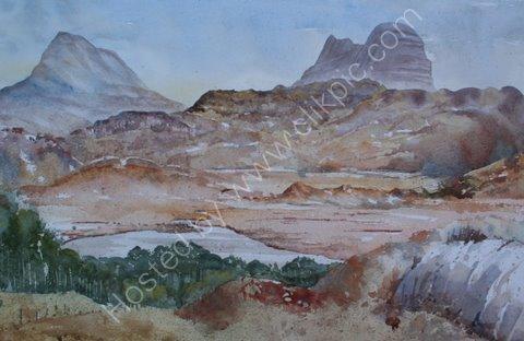 Suilven and Canisp from Glencanisp Lodge, Wester Ross