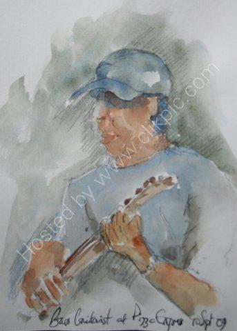 Bass guitarist aty Pizza Express, 10 Sept 2009
