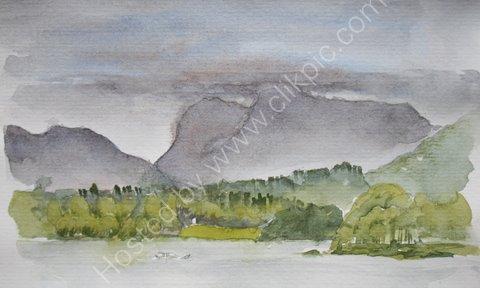 The Langdales across Lake Windermere, Cumbria
