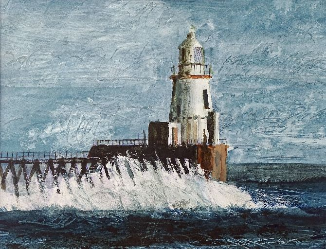 Waves breaking at Blyth Lighthouse