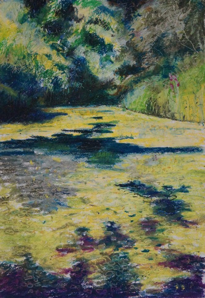Woodland Landscape - Oil Pastel