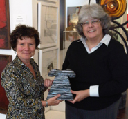 Actress Imelda Stuanton with her purchase at the Cork Street Open Exhibition